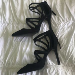 Zara Black Suede Strappy Pump Size 37